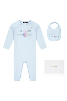 Blue Baby Boys Blue Cotton Romper 2 Piece Gift Set