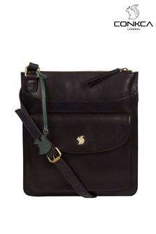 Conkca Dark Navy Lauryn Leather Cross Body Bag