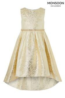 Monsoon Gold Jacquard High-Low Dress