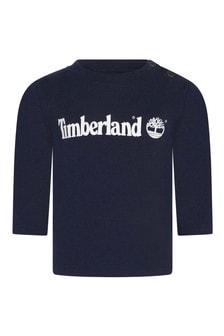 Baby Boys Navy Organic Cotton Long Sleeve T-Shirt