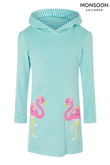 Monsoon Blue Flamingo Towelling Dress