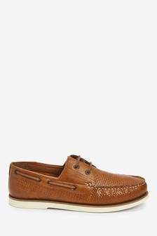 Tan Embossed Boat Shoes