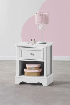White Amelia 1 Drawer Bedside Table