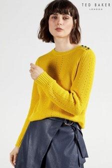 Ted Baker Yelllow Hendrik Button Detail Sweater