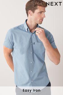 Dusky Blue Regular Fit Short Sleeve Easy Iron Button Down Oxford Shirt
