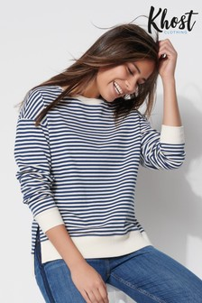 Khost Navy Stripe Split Hem Sweater