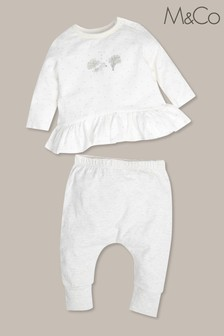 M&Co Cream Newborn Top And Leggings Set