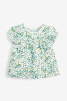 Teal Floral GOTS Organic Cotton T-Shirt (3mths-7yrs)