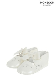 Monsoon Baby Flora Ivory Patent Booties