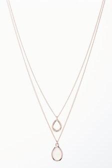 Rose Gold Tone Rose Quartz Double Layer Necklace