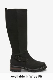 Black Regular/Wide Fit Chunky Buckle Knee High Boots