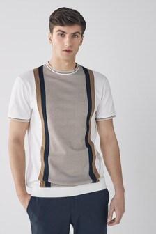 Ecru/Tan Dogtooth Pattern T-Shirt