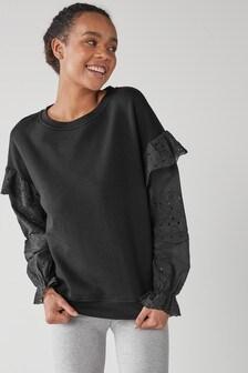Black Broderie Sleeve Top