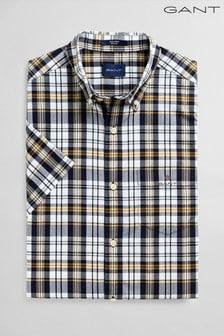 GANT Green Tech Prep Broadcloth Indigo Check Shirt