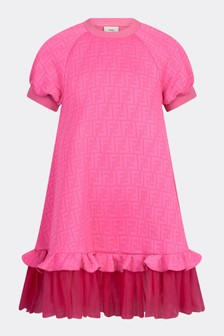 Fendi Kids Girls Pink Cotton Dress