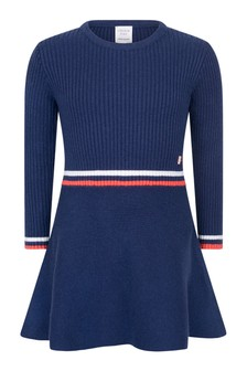 Girls Navy Knitted Dress