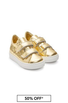 Girls Gold Leather Trainers