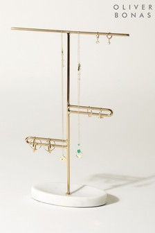 Oliver Bonas Marble Effect Gold Loop Jewellery Stand