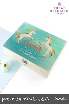 Personalised Unicorn Storage Box by Treat Republic