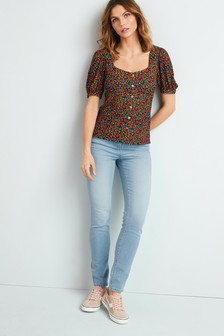 Multi Floral Button Front Short Sleeve Top