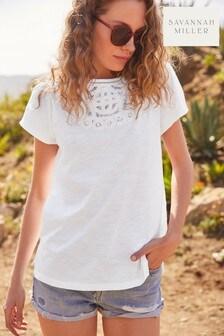 White Savannah Miller Broderie T-Shirt