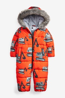 Red Digger Print Snowsuit (3mths-7yrs)