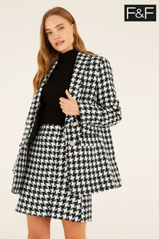 F&F Black Dogtooth Bouclé Jacket