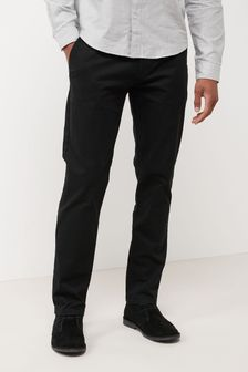 Black Straight Fit Stretch Chinos