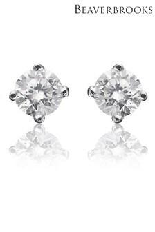 Beaverbrooks 18ct White Gold Diamond Stud Earrings