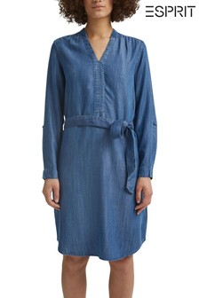 Esprit Blue Long Sleeve Belted Denim-Effect Dress