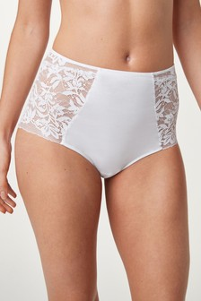 White Organic Cotton And Lace Knickers
