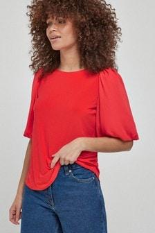 Orange Puff Short Sleeve Blouse