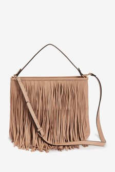 Sand Fringe Detail Shoulder Bag