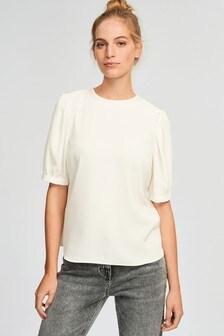 Ecru Gathered Short Sleeve Top