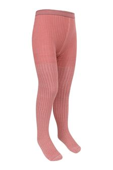 Girls Pink Cotton Ribbed Glitter Tights