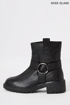 River Island Black Leather Biker Boots