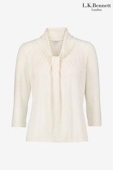 L.K.Bennett Ivory Brooke Tie Drape Jersey Top