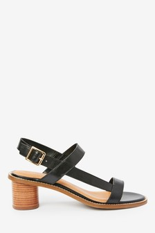 Black Leather Casual Sandals