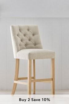 Soft Texture Light Natural Wolton Button Natural Leg Bar Stool