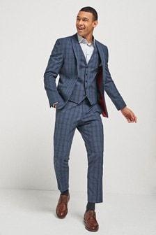 Navy Jacket Check Motion Flex Slim Fit Suit