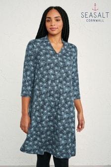 Seasalt Grey Linear Blooms Granite Glowen Dress