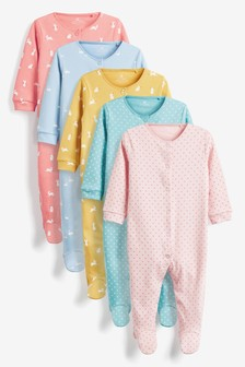 Bright Mini Character 5 Pack Printed Sleepsuits (0-2yrs)