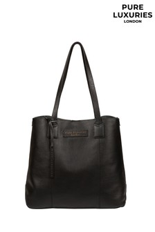 Pure Luxuries London Black Ruxley Leather Tote Bag