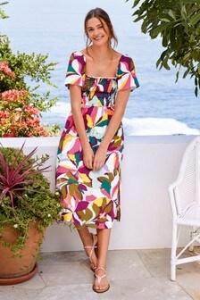 Bright Leaf Off The Shoulder Dress