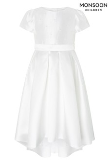 Monsoon White Henrietta Pearl Embellished Dress