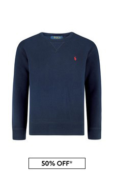 Boys Navy Cotton Fleece Sweater