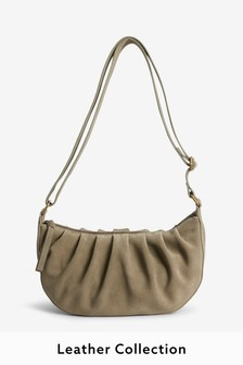 Khaki Suede Ruched Bag