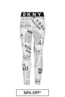 DKNY Girls White Cotton Leggings