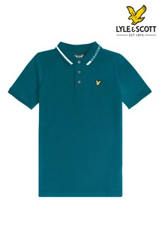 Lyle & Scott Blue Branded Collar Polo Shirt