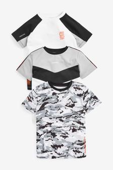 Monochrome 3 Pack Camo Colourblock T-Shirts (3-16yrs)
